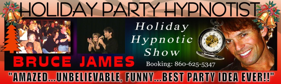 Holiday Party Ideas with Comedy Stage Hypnotist an audience participation holiday event with comedy stage hypnosis entertainment for corporate holiday party planning Holiday Office Party ideas - Christmas party planning or Company Holiday Party Entertainment. Book national Master Hypnotist Bruce James 860-625-5347